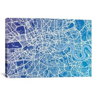 iCanvas Michael Thompsett London Street Map (Blue II) Canvas Print Wall Art