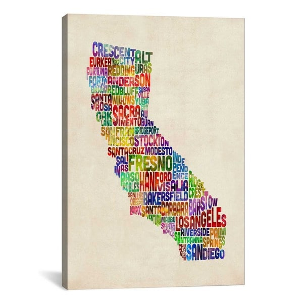 Shop Icanvas Michael Thompsett California Typography Text Map Canvas