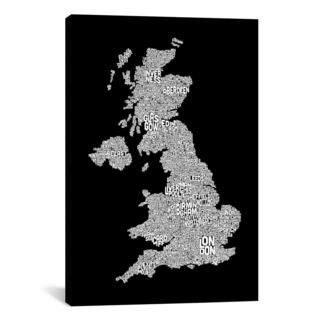 iCanvas Michael Thompsett Great Britain Cities Text Map II Canvas Print Wall Art