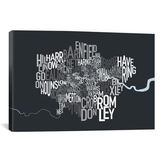 iCanvas Michael Thompsett London Text Map Canvas Print Wall Art