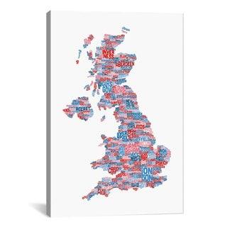 iCanvas Michael Thompsett Great Britain Cities Text Map Canvas Print Wall Art