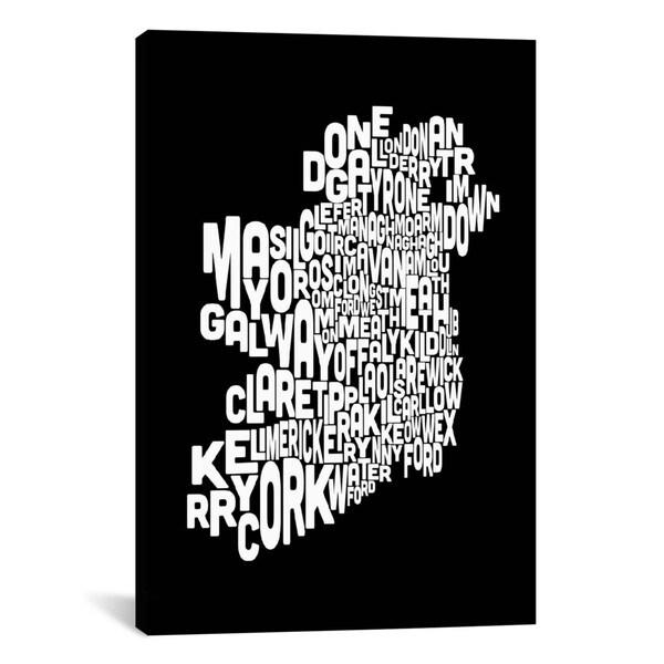 iCanvas Michael Thompsett Text Map Of Ireland II Canvas Print Wall Art