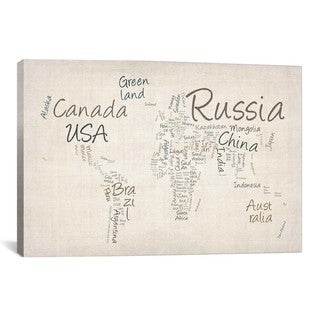 iCanvas Michael Thompsett World Map in Words II Canvas Print Wall Art