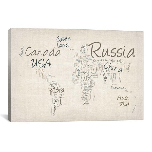 Icanvas michael thompsett world map in words ii canvas print wall icanvas michael thompsett world map in words ii canvas print wall art gumiabroncs Image collections