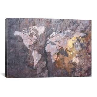 iCanvas Michael Thompsett World Map on Stone Background Canvas Print Wall Art