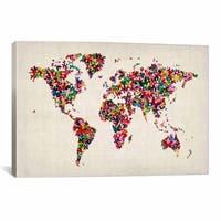 iCanvas Michael Thompsett Butterflies?World Map II Canvas Print Wall Art