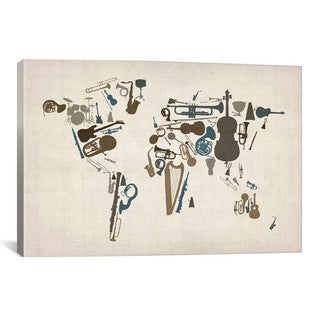 iCanvas Michael Thompsett Musical Instruments Map of theWorld Canvas Print Wall Art