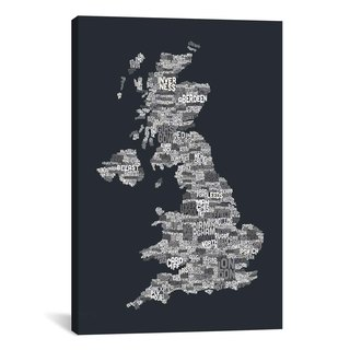 iCanvas Michael Thompsett Great Britain UK City Text Map (Gray) Canvas Print Wall Art