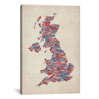 iCanvas Michael Thompsett Great Britain UK City Text Map III Canvas Print Wall Art