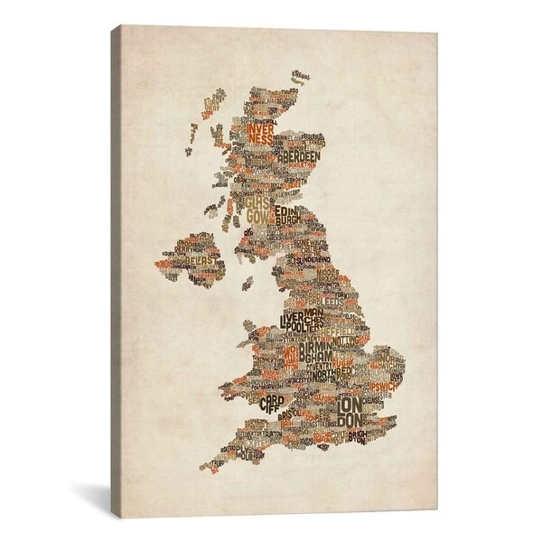 iCanvas Michael Thompsett Great Britain UK City Text Map II Canvas Print Wall Art
