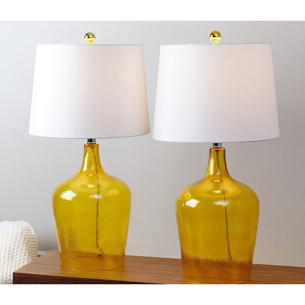 Bon Abbyson Azure Yellow Glass Table Lamp (Set Of 2)