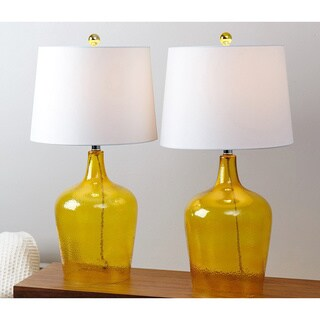 Abbyson Azure Yellow Glass Table Lamp (Set of 2)