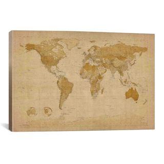iCanvas Michael Thompsett Antique World Map II Canvas Print Wall Art