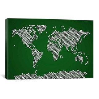 iCanvas Michael Thompsett Football Soccer Balls World Map Canvas Print Wall Art