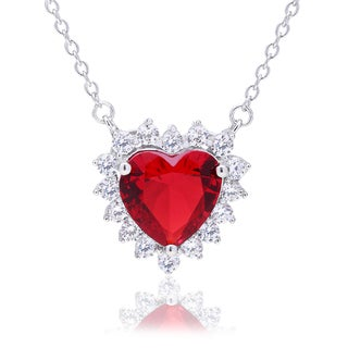 Blue Box Jewels Sterling Silver Red Heart-cut Cubic Zirconia Pendant