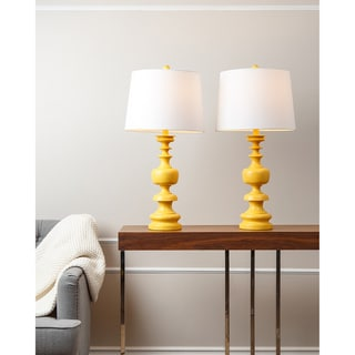 ABBYSON LIVING Alexis Yellow Spiral Table Lamp (Set of 2)