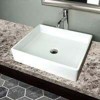 Highpoint Collection White Vitreous China Rectangle Vessel Sink