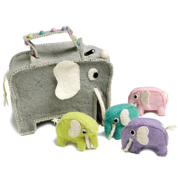 Handmade Children's Felted Wool Elephant Bag with Four Elephants (Denmark)