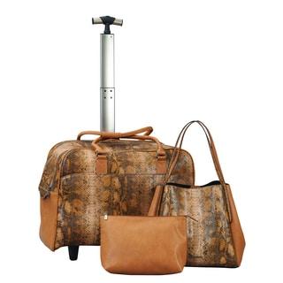 Janome Abbacino Leather Brown Bag 3-piece Set