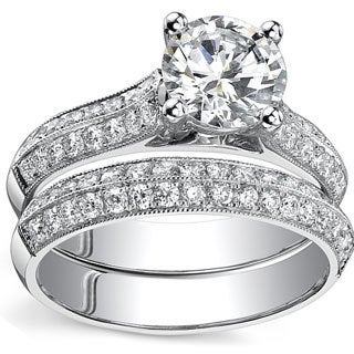 18k White Gold 1 7/8ct TDW Certified Round Diamond Bridal Ring Set