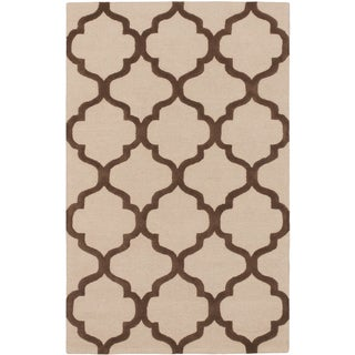 Hand-tufted Trellis Brown/ Ivory Open Field Wool Rug (5' x 8')