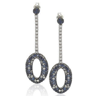 Suzy Levian Sterling Silver 4 2/3ct TGW Sapphire and Diamond Accent Pave Earrings