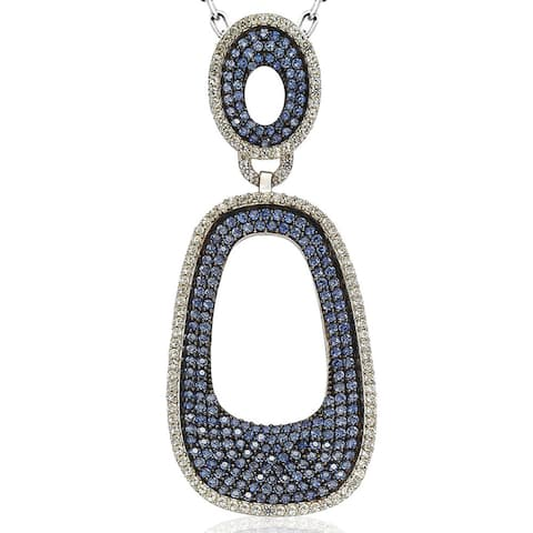 Suzy L. Sterling Silver 6 1/10ct TGW Sapphire Pave Pendant with Chain - Blue