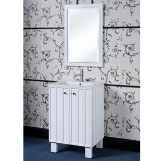 24-inch Single Sink Bathroom Vanity in White Finish with Matching Framed Wall Mirror