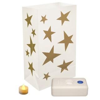 Battery Operated LED Luminaria Kit Stars (Set of 12)
