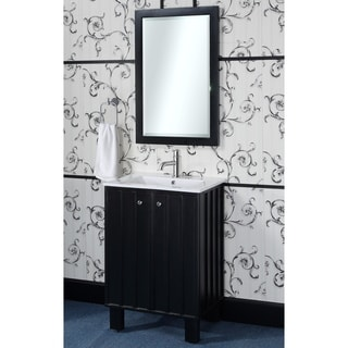 24-inch Single Sink Bathroom Vanity in Black Finish with Matching Framed Wall Mirror