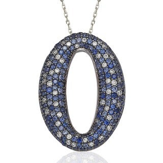 Suzy Levian Sterling Silver Blue and White Sapphire and Diamond Accent Micro Pave Oval Necklace