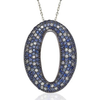 Suzy Levian Sterling Silver Blue and White Sapphire and Diamond Accent Micro Pave Oval Necklace|https://ak1.ostkcdn.com/images/products/9625843/P16811993.jpg?impolicy=medium