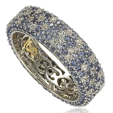 Suzy Levian Sterling Silver 5 1/3ct TGW Sapphire and Diamond Accent Eternity Pave Ring