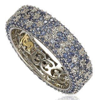 Suzy Levian Sterling Silver 5 1/3ct TGW Sapphire and Diamond Accent Eternity Pave Ring (More options available)