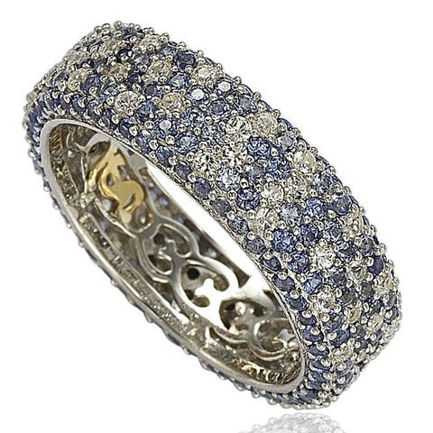 Suzy L. Sterling Silver 5 1/3ct TGW Sapphire and Diamond Accent Eternity Pave Ring