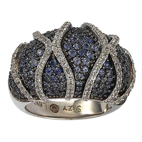 Suzy L. Sterling Silver Sapphire and Diamond Accent Ring