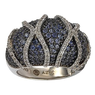 Suzy Levian Sterling Silver Sapphire and Diamond Accent Ring|https://ak1.ostkcdn.com/images/products/9625846/P16811989.jpg?impolicy=medium