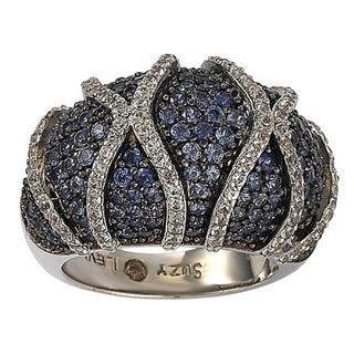 Suzy Levian Sterling Silver Sapphire and Diamond Accent Ring