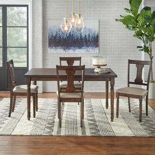 Simple Living 5 Piece Burntwood Dining Set
