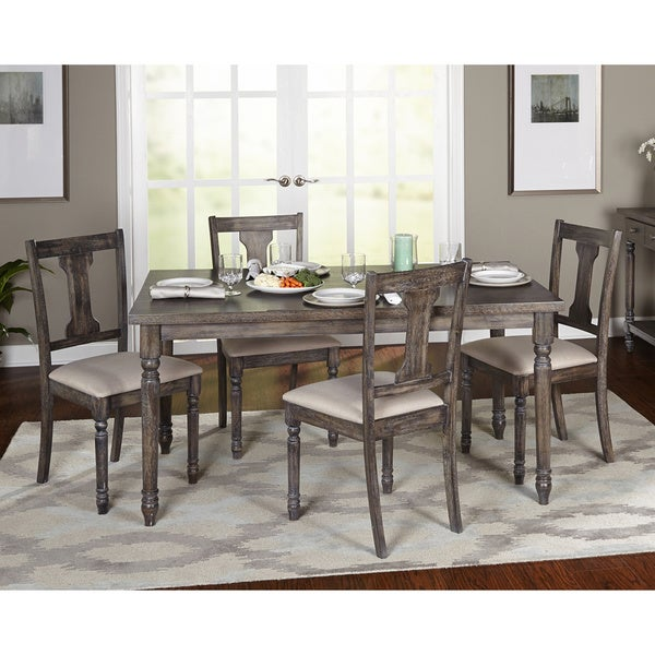 overstock dining room tables | Shop Simple Living 5-piece Burntwood Dining Set - On Sale ...
