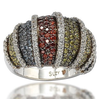 Suzy Levian Sterling Silver Multicolor Cubic Zirconia Pave Ring (Option: Size 5)