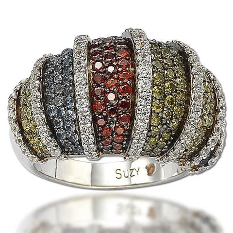 Suzy L. Sterling Silver Multicolor Cubic Zirconia Pave Ring