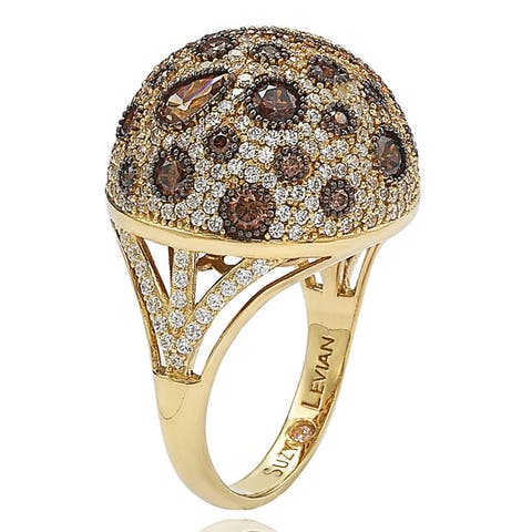 Suzy L. Golden Sterling Silver Brown Cubic Zirconia Ring