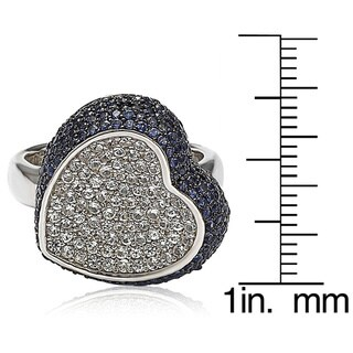 Suzy Levian Sterling Silver Sapphire and Diamond Accent Micro Pave Heart Ring