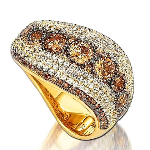 Suzy Levian Golden Sterling Silver Chocolate Cubic Zirconia Ring
