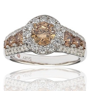 Suzy Levian Bridal Sterling Silver Brown and White Cubic Zirconia Engagement Ring (More options available)