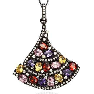 Suzy Levian Sterling Silver Multi-colored Cubic Zirconia Pendant