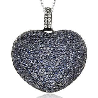 Suzy Levian 9 ct. TGW Sapphire Big Heart Sterling Silver Pendant|https://ak1.ostkcdn.com/images/products/9625959/P16812079.jpg?impolicy=medium