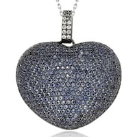 Suzy Levian 9 ct. TGW Sapphire Big Heart Sterling Silver Pendant
