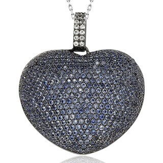 Suzy Levian 9 ct. TGW Sapphire Big Heart Sterling Silver Pendant